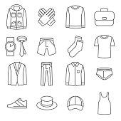 Mens clothes vector line icons set