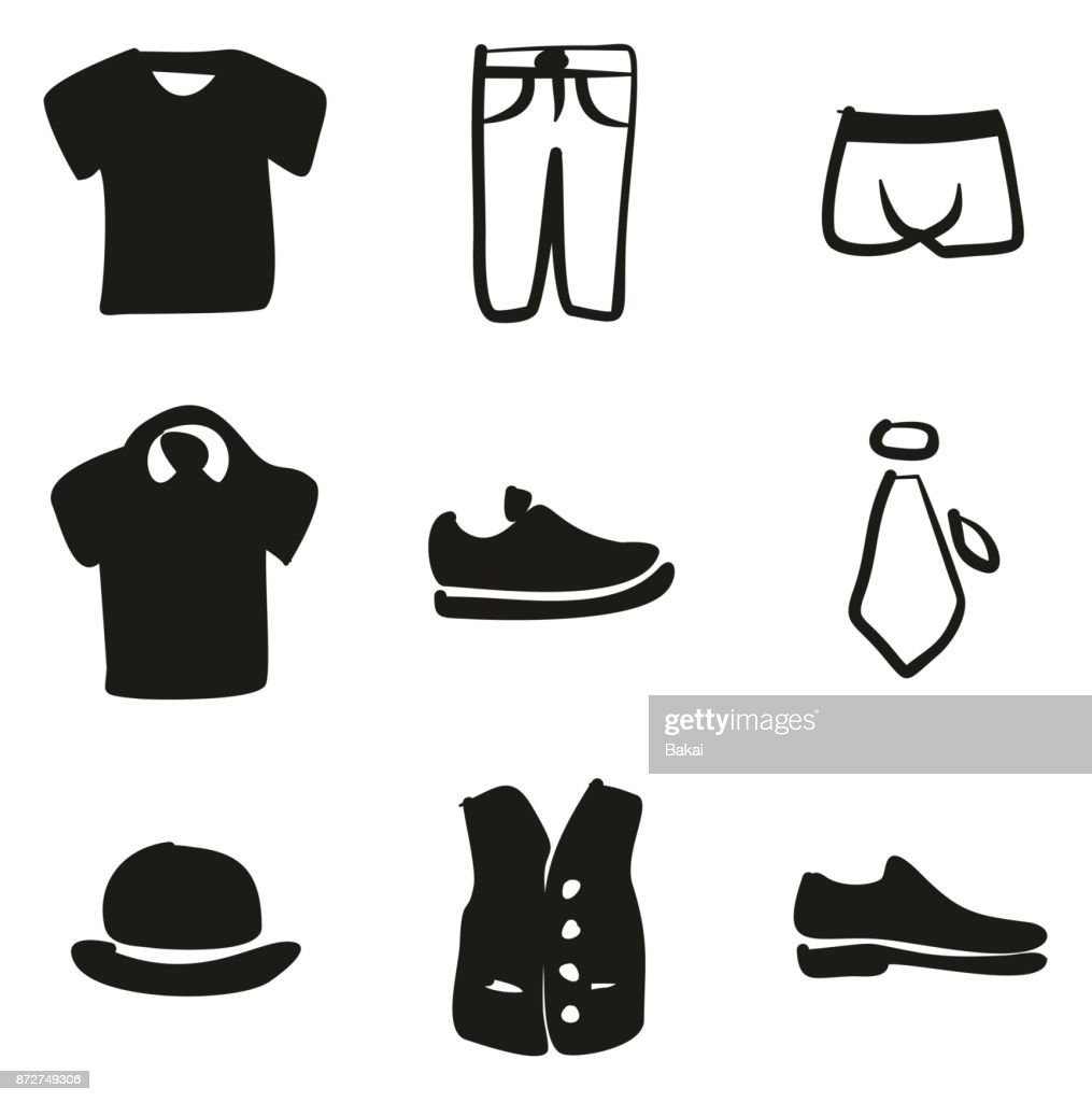 Mens Clothing Icons Freehand Fill
