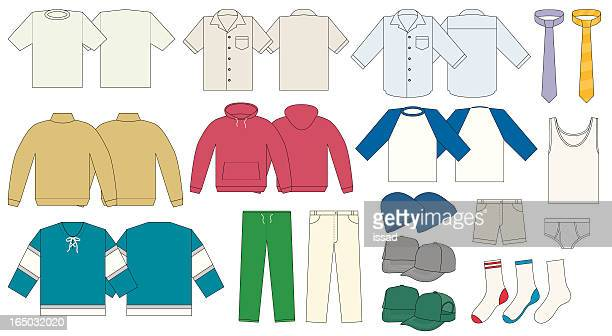 men's clothing template - vector - hooded top stock illustrations
