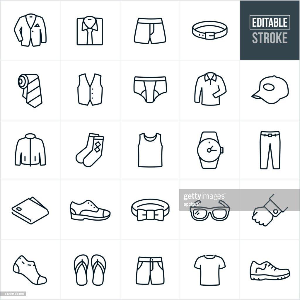 Men's Clothing Thin Line Icons - Editable Stroke : Stock Illustration