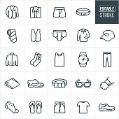 Men's Clothing Thin Line Icons - Editable Stroke