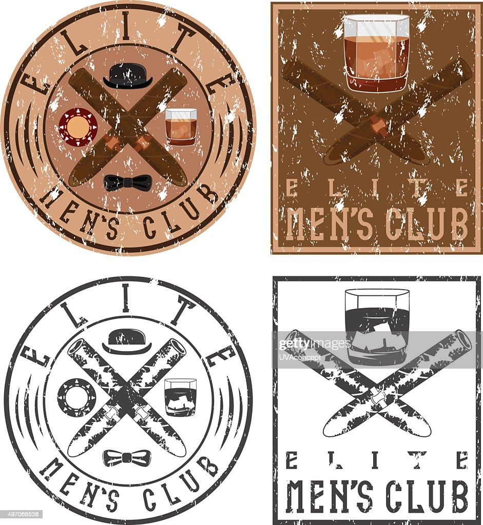 men's club vintage grunge labels with cigars and whiskey glass