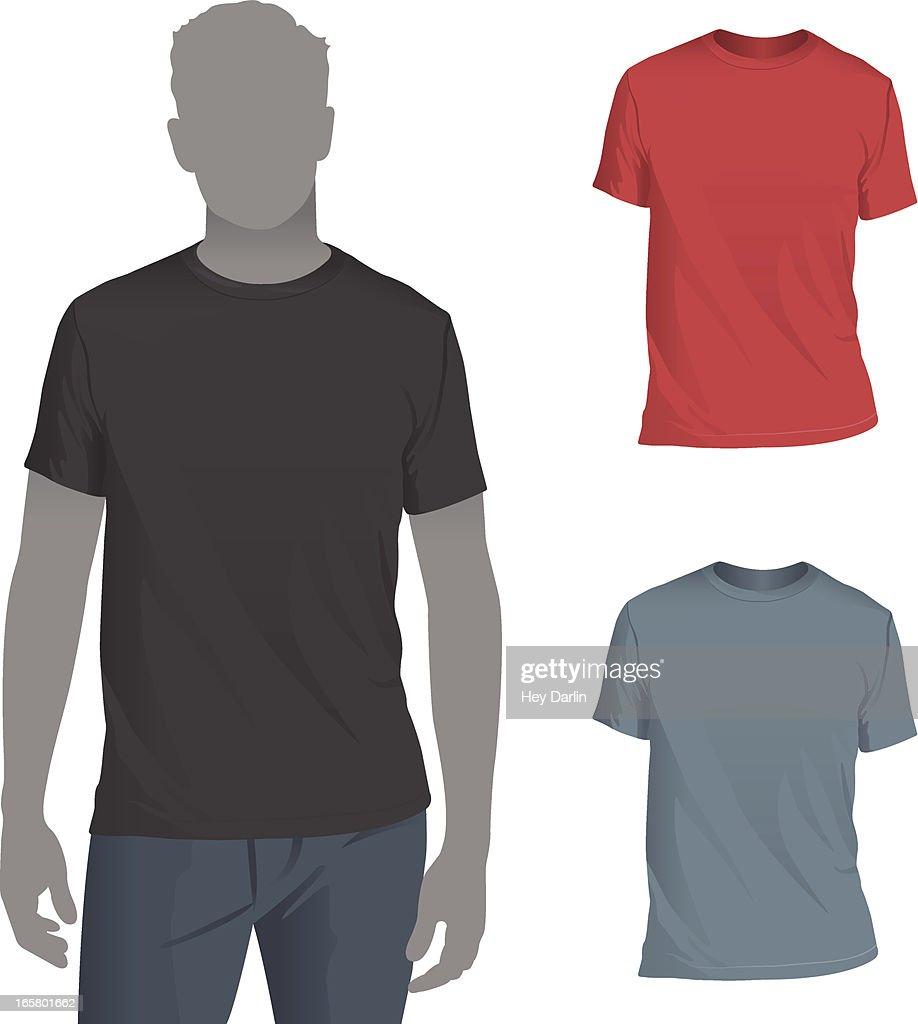 Mens Crewneck Tshirt Mockup Template High Res Vector Graphic