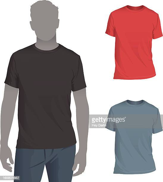 men's crewneck t-shirt mockup template - model stock illustrations