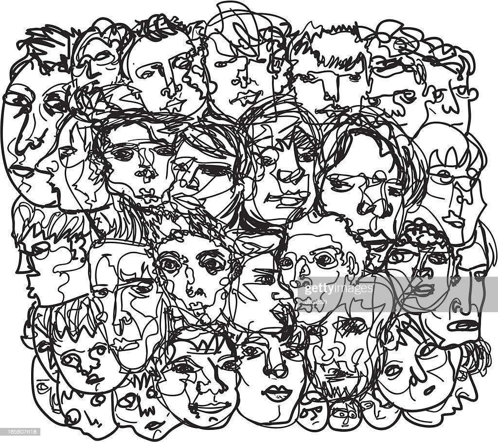Men's face sketch : stock illustration