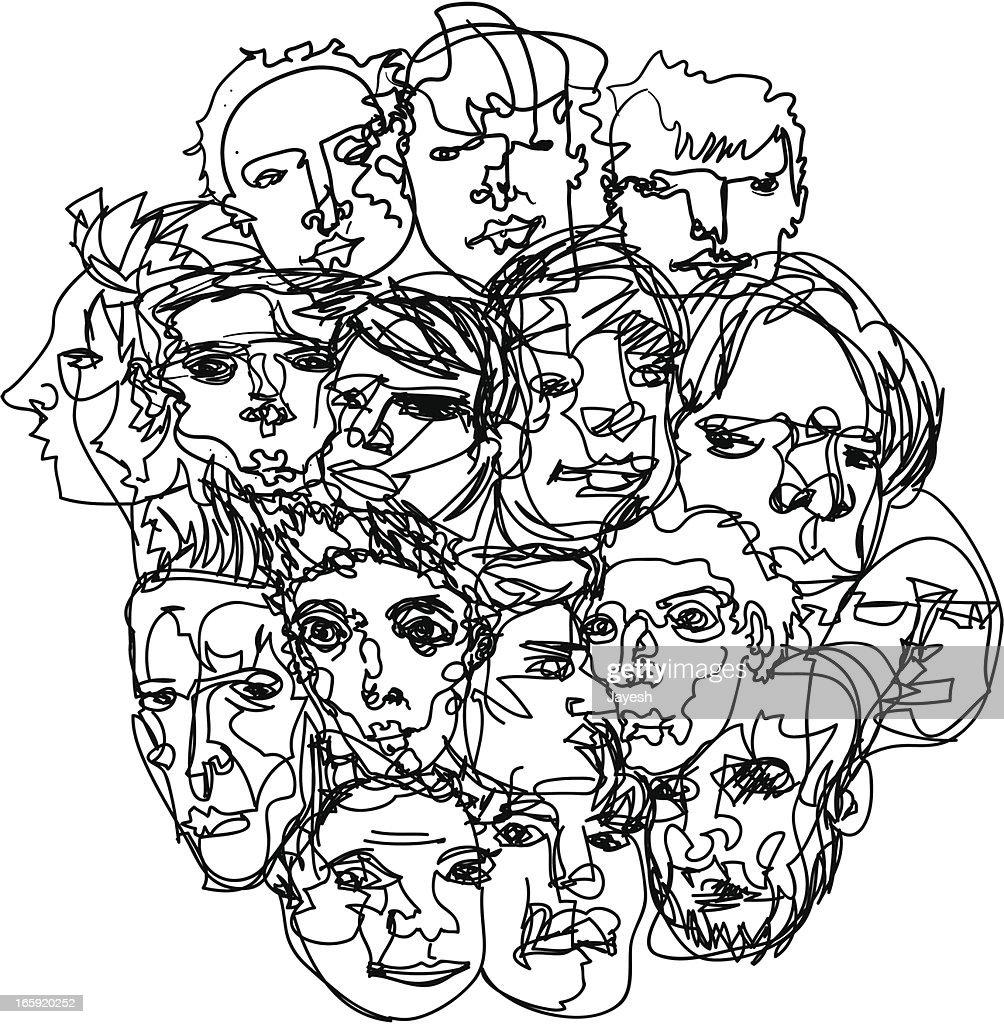 Men's Faces Sketch