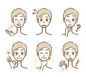 Men's facial expression set