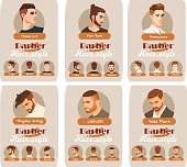 Men's haircut and hairstyle. Side part haircut. Pompadour, Undercut, Man Bun. Barber hairstyle. Front, side and back view