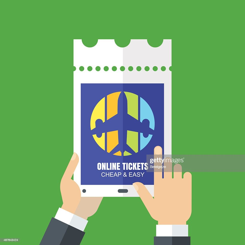 Mens hands holding tablet and booking tickets online