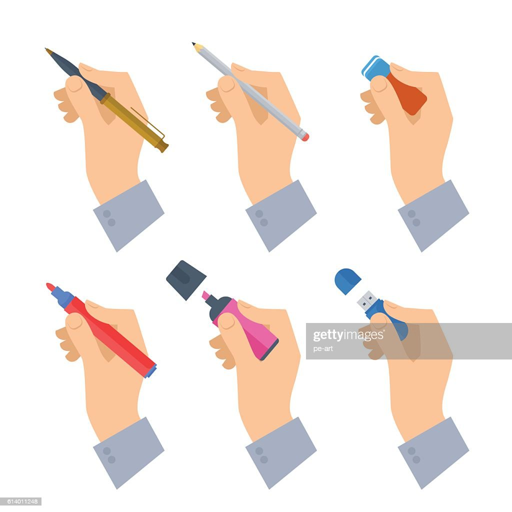 Men's hands with writing tools and office supplies set.