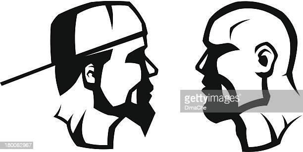 men's heads - balding stock illustrations, clip art, cartoons, & icons