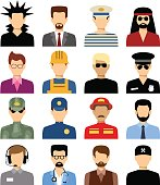 Men's isolated avatars of different professions.