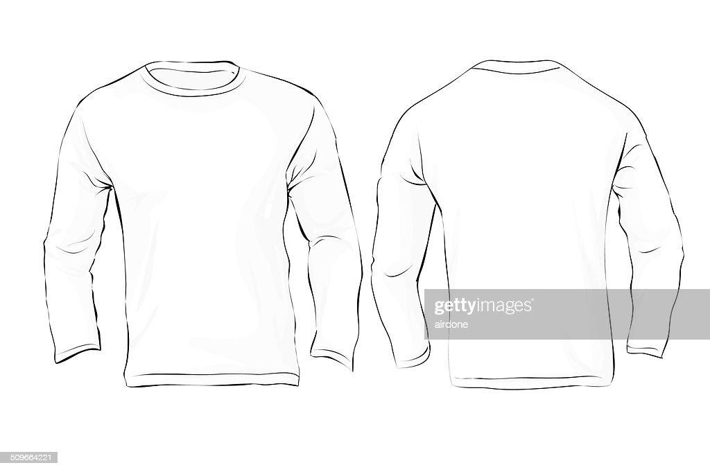 Men's Long Sleeved T-Shirt Template, White Color
