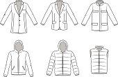 Men's Outerwear clothes, Garment illustration, Coat, Blazer. Jacket, vector