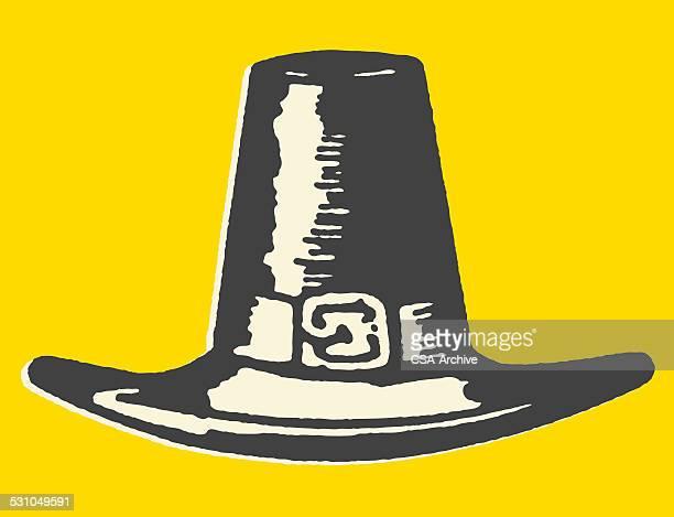 men's pilgrim hat - pilgrim stock illustrations, clip art, cartoons, & icons