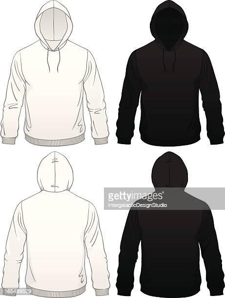 men's pullover hoodie - hooded top stock illustrations