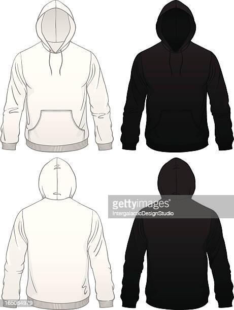 men's pullover pocket hoodie - hooded top stock illustrations