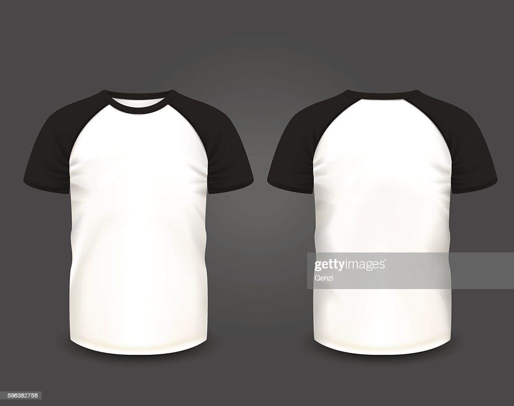 Men's raglan t-shirt. Vector template.