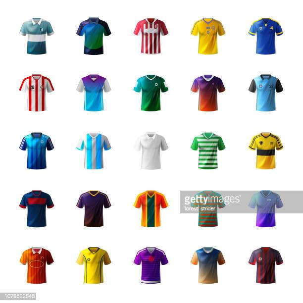 illustrazioni stock, clip art, cartoni animati e icone di tendenza di men's shirt and football uniform - camicia