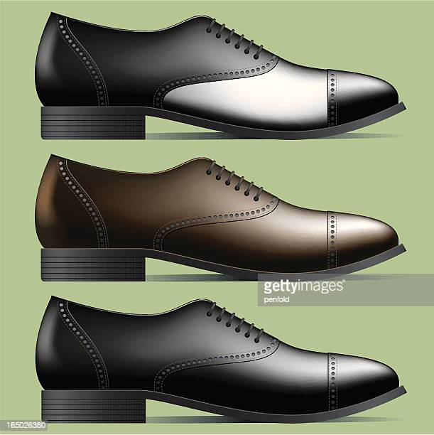 stockillustraties, clipart, cartoons en iconen met men's shoes - nette schoen