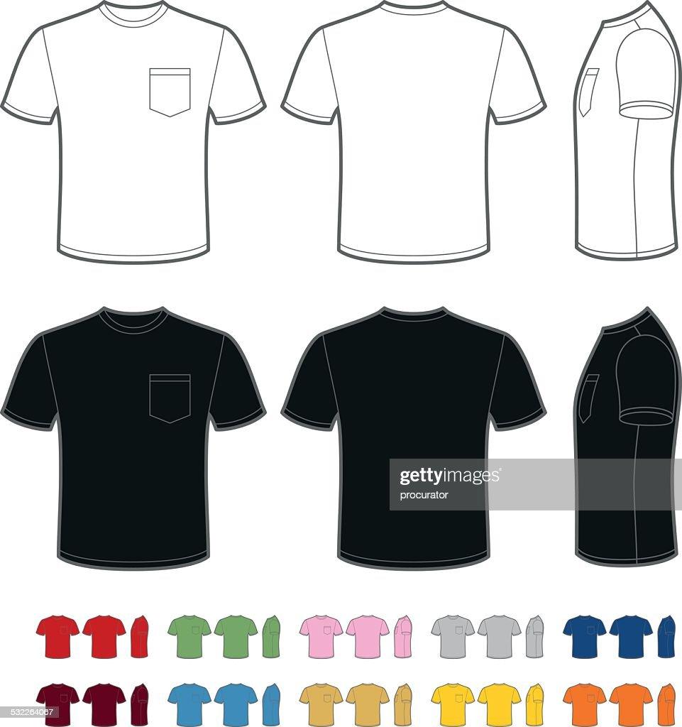 Mens T Shirt With Pocket Vector Art