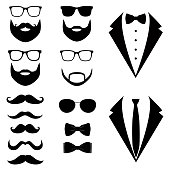Men's tuxedo. Mustaches, glasses, beard.