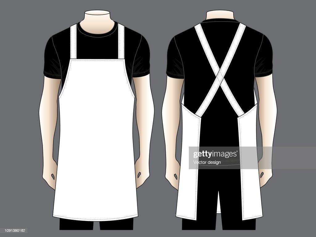 Men's White Apron Vector for Template