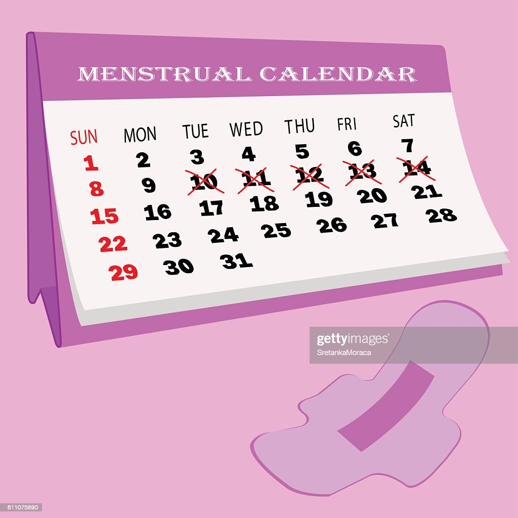 Menstruation calendar.Woman hygiene protection.Woman critical days.