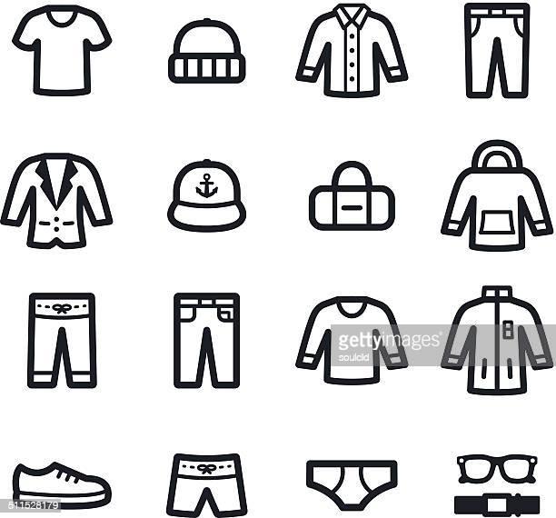 menswear icons - cardigan sweater stock illustrations, clip art, cartoons, & icons