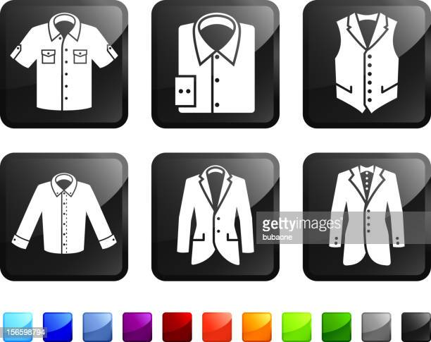 Menswear Jacket and Shirt royalty free vector icon set stickers