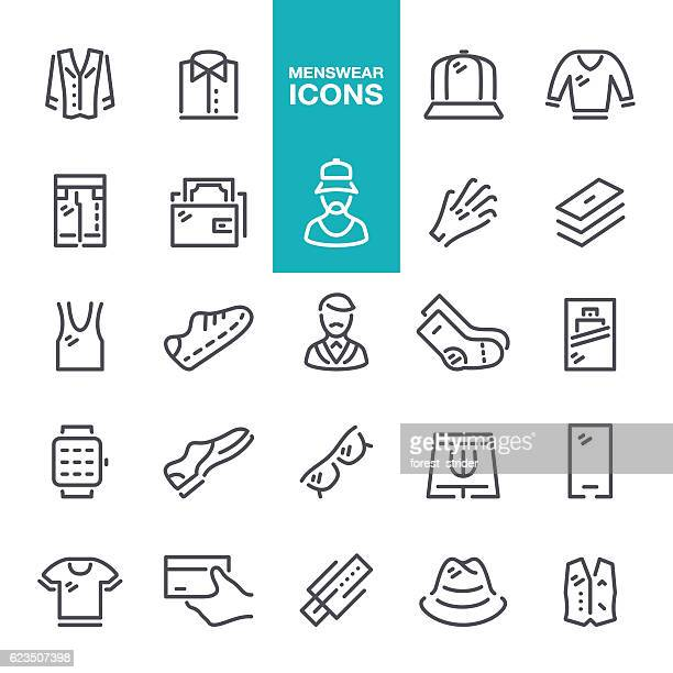 menswear line icons - cardigan sweater stock illustrations, clip art, cartoons, & icons
