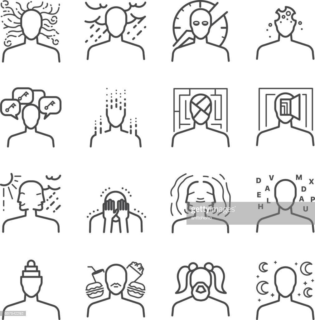 Mental disorders icon set