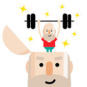 Mental health, active and healthy lifestyle senior man lifting a weight up and down, standing into an open head