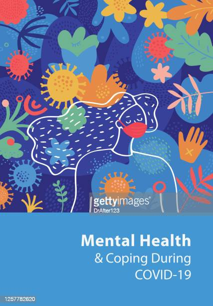 mental health and coping during covid-19 cover template - mental wellbeing stock illustrations