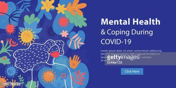 stockillustraties, clipart, cartoons en iconen met geestelijke gezondheid en coping tijdens covid-19 web banner - bewustwording over geestelijke gezondheid