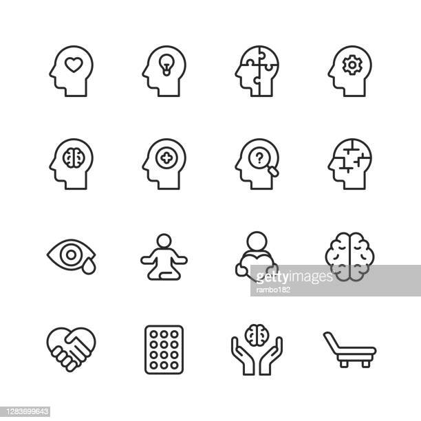 mental health and wellbeing line icons. editable stroke. pixel perfect. for mobile and web. contains such icons as anxiety, care, depression, emotional stress, healthcare, medicine, human brain, loneliness, psychotherapy, sadness, support, therapy. - mental health stock illustrations