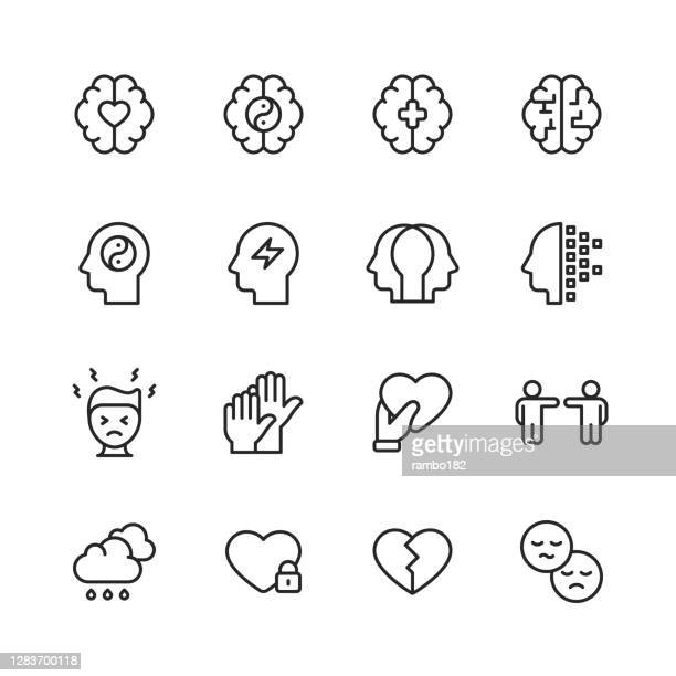 mental health and wellbeing line icons. editable stroke. pixel perfect. for mobile and web. contains such icons as anxiety, care, depression, emotional stress, healthcare, medicine, human brain, loneliness, psychotherapy, sadness, support, therapy. - confusion stock illustrations