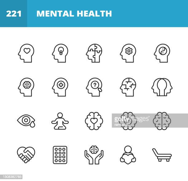 mental health and wellbeing line icons. editable stroke. pixel perfect. for mobile and web. contains such icons as anxiety, care, depression, emotional stress, healthcare, medicine, human brain, loneliness, psychotherapy, sadness, support, therapy. - condition stock illustrations