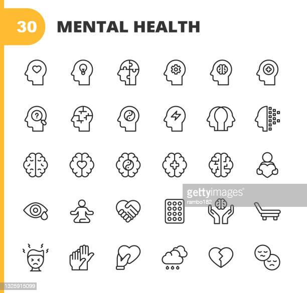 ilustrações de stock, clip art, desenhos animados e ícones de mental health and wellbeing line icons. editable stroke. pixel perfect. for mobile and web. contains such icons as anxiety, care, depression, emotional stress, healthcare, medicine, human brain, loneliness, psychotherapy, sadness, support, therapy. - pandemia doença