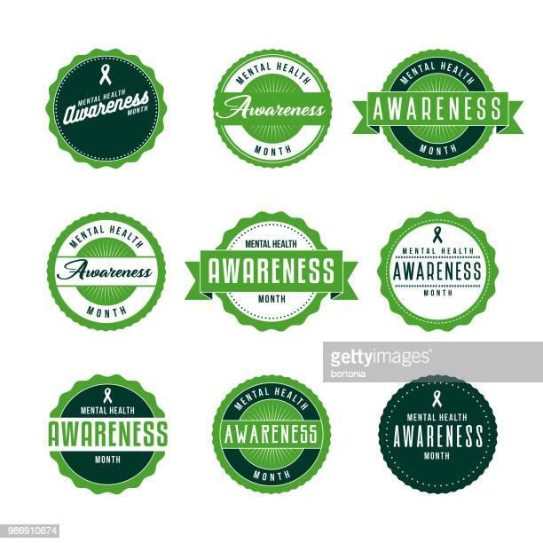 stockillustraties, clipart, cartoons en iconen met geestelijke gezondheid bewustzijn maand icon set - bewustwording over geestelijke gezondheid