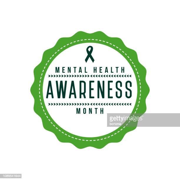 stockillustraties, clipart, cartoons en iconen met geestelijke gezondheid bewustzijn maand label - bewustwording over geestelijke gezondheid