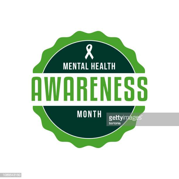 mental health awareness month label - month stock illustrations