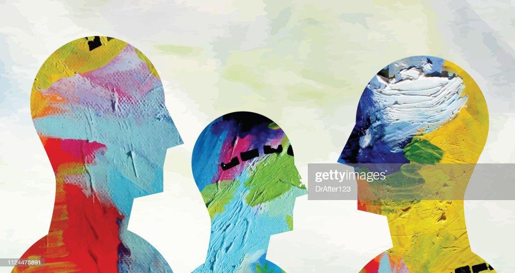 Psychische Gesundheit Konzept Horizontal : Stock-Illustration
