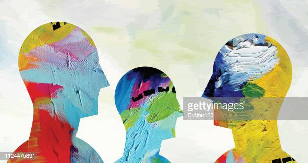mental health concept horizontal - three people stock illustrations