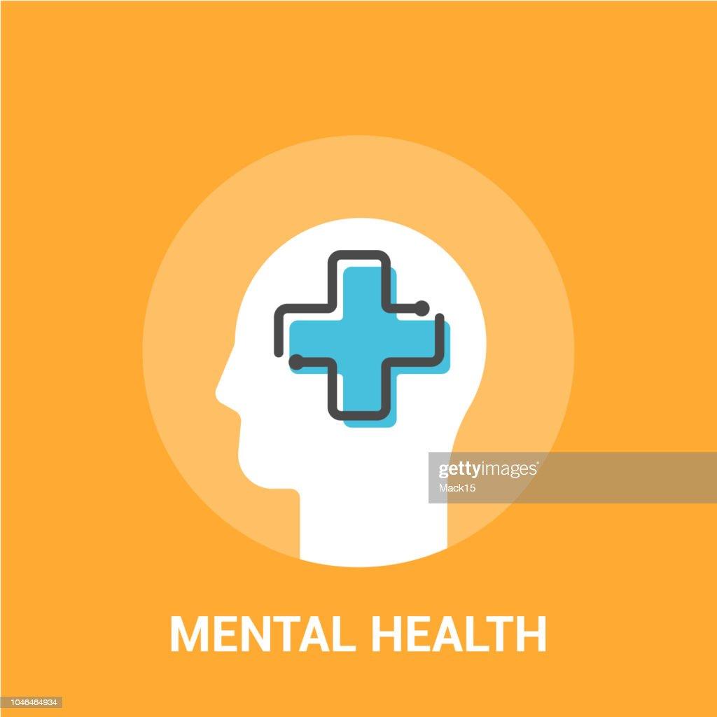 Mental health concept. Vector illustration. Medical cross in the human head : stock illustration