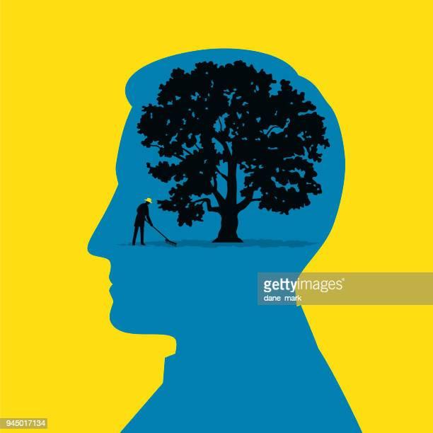 mental health illustration - landscaper stock illustrations, clip art, cartoons, & icons