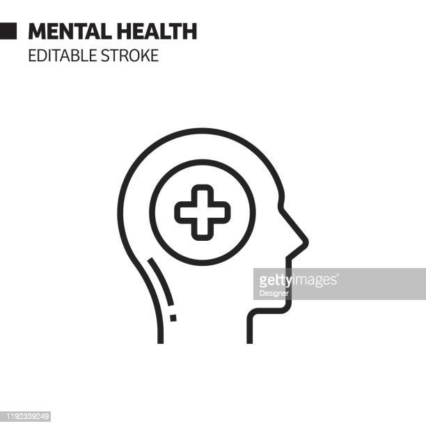 mental health line icon, outline vector symbol illustration. pixel perfect, editable stroke. - mental health stock illustrations