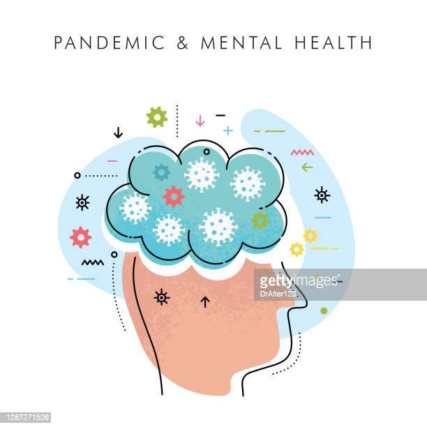 mental health pandemic concept - mental illness stock illustrations
