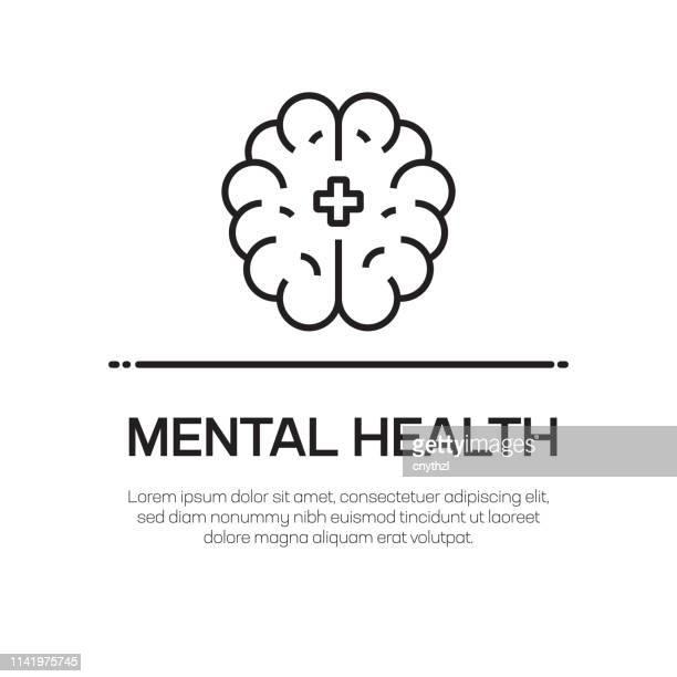 stockillustraties, clipart, cartoons en iconen met mental health vector line icon-eenvoudige dunne lijn icoon, premium kwaliteit design element - bewustwording over geestelijke gezondheid