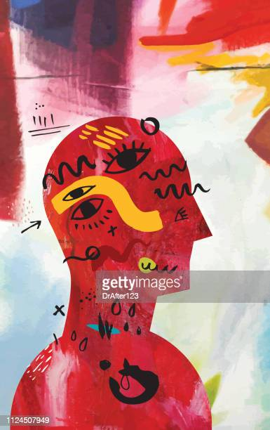 mental health vertical - artistic product stock illustrations